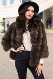Donna con capelli scuri in vestiti eleganti e pelliccia lussuosa Immagini Stock Libere da Diritti