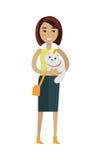 Donna con Cat Vector Illustration nella progettazione piana Fotografie Stock Libere da Diritti