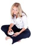 Donna con Cd Fotografie Stock