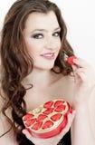 Donna con cioccolato Fotografie Stock Libere da Diritti