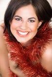 Donna con colore rosso Immagine Stock