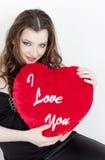 Donna con cuore Fotografia Stock Libera da Diritti