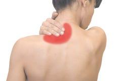 Donna con dolore al collo Immagini Stock