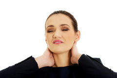 Donna con dolore al collo Fotografia Stock Libera da Diritti