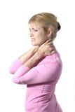 Donna con dolore al collo severo 8 Immagine Stock