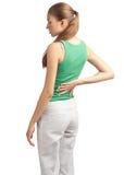 Donna con dolore alla schiena Immagini Stock