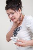 Donna con dolore in collo Fotografia Stock Libera da Diritti