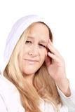 Donna con dolore di emicrania Immagine Stock Libera da Diritti
