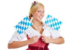 Donna con due bandiere bavaresi Immagine Stock Libera da Diritti