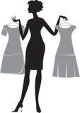 Donna con due vestiti illustrazione di stock
