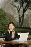 Donna con er loptop Fotografia Stock Libera da Diritti