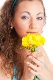 Donna con freesia Fotografia Stock Libera da Diritti