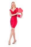 Donna con giftbox isolato Immagine Stock