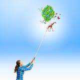 Donna con gli aerostati Fotografia Stock Libera da Diritti