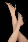 Donna con gli alti pattini tallonati Fotografia Stock