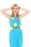Donna con gli autoadesivi colorati isolati sopra bianco Immagini Stock