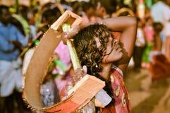 Donna con gli occhi chiusi nel Kerala Immagini Stock