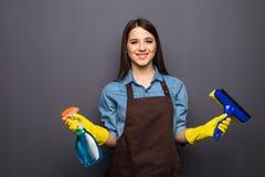 Donna con gli strumenti di pulizia della casa per la pulizia delle finestre isolate su grey Fotografia Stock Libera da Diritti