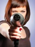 Donna con hairdryer Immagini Stock Libere da Diritti