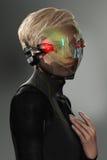 Donna con HUD Display Visor futuristico illustrazione di stock