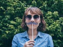 Donna con i baffi fotografia stock
