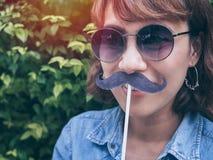Donna con i baffi fotografie stock libere da diritti