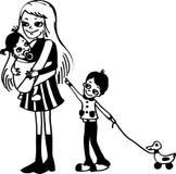 Donna con i bambini illustrazione di stock