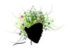 Donna con i capelli degli ornamenti Immagine Stock
