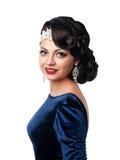 Donna con i capelli di sera e trucco nella retro immagine di sera Fotografie Stock Libere da Diritti