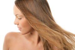 Donna con i capelli di volo Immagini Stock Libere da Diritti