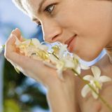 Donna con i fiori. Fotografia Stock