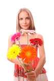 Donna con i fiori, isolati Fotografia Stock