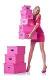 Donna con i giftboxes immagini stock libere da diritti