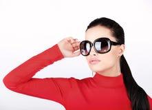 Donna con i grandi vetri di sole Immagini Stock