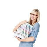 Donna con i libri Fotografia Stock