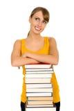 Donna con i libri Fotografie Stock Libere da Diritti