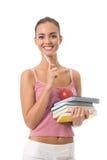 Donna con i libri, isolati su bianco Immagini Stock Libere da Diritti