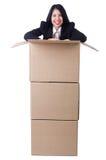 Donna con i lotti delle scatole Immagini Stock