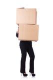 Donna con i lotti delle scatole Fotografie Stock Libere da Diritti