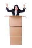 Donna con i lotti delle scatole Fotografia Stock Libera da Diritti