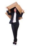 Donna con i lotti delle scatole Immagine Stock Libera da Diritti