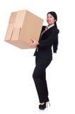 Donna con i lotti delle scatole Fotografia Stock