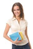 Donna con i manuali, isolati Immagine Stock Libera da Diritti