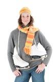 Donna con i pattini di ghiaccio Fotografie Stock Libere da Diritti
