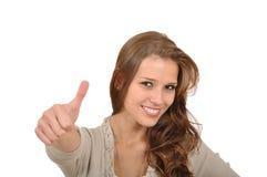 Donna con i pollici in su immagini stock