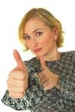 Donna con i pollici in su Immagini Stock Libere da Diritti