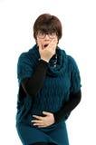 Donna con i problemi gastrointestinali Fotografia Stock Libera da Diritti
