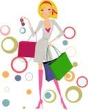 Donna con i sacchetti della spesa Fotografia Stock Libera da Diritti