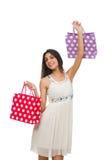 Donna con i sacchetti di acquisto Fotografia Stock Libera da Diritti