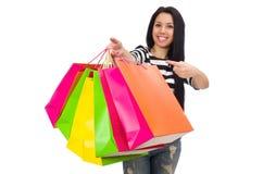 Donna con i sacchetti di acquisto Fotografie Stock Libere da Diritti